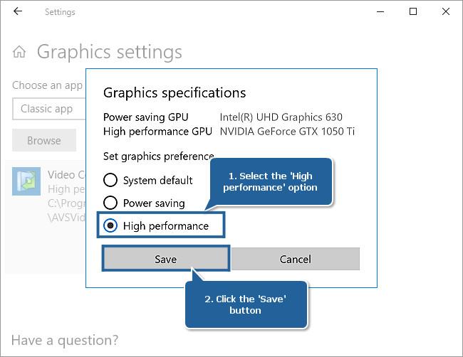 How to set NVIDIAВ® as a preferred graphics processor for